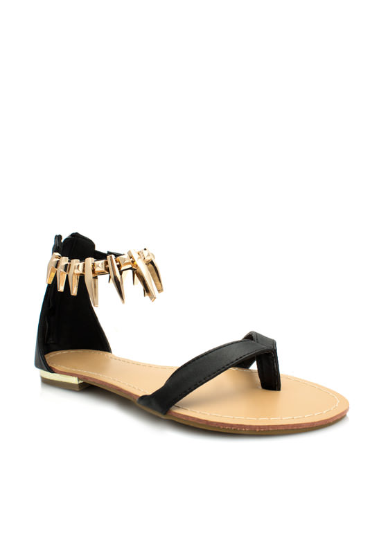 Perfectly Clawed Faux Leather Sandals BLACK
