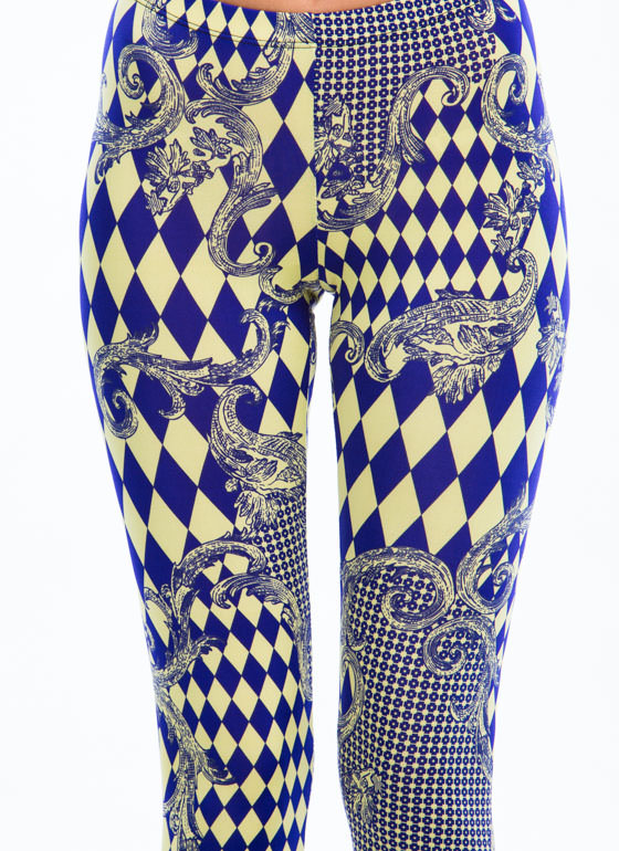 $2 Harlequin Dreams Mixed Print Leggings BLUEYELLOW
