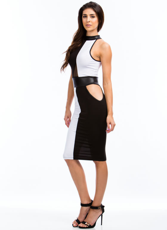 Contrast Colorblock Cut-Out Dress BLACKWHITE