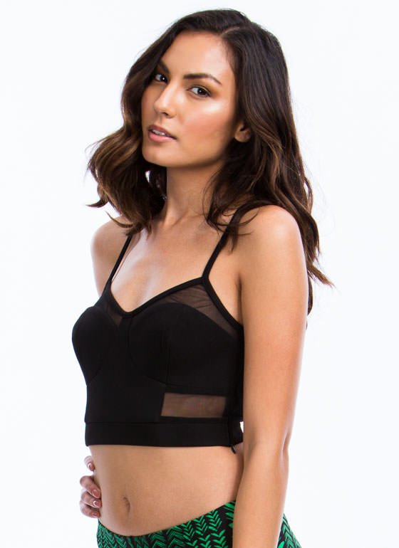 Mesh Bustier Cropped Tank BLACK