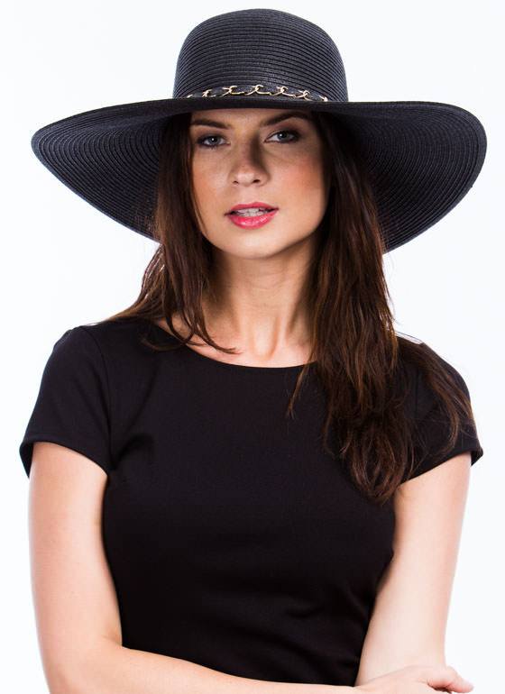 Chain Trimmed Wide Brim Hat BLACK