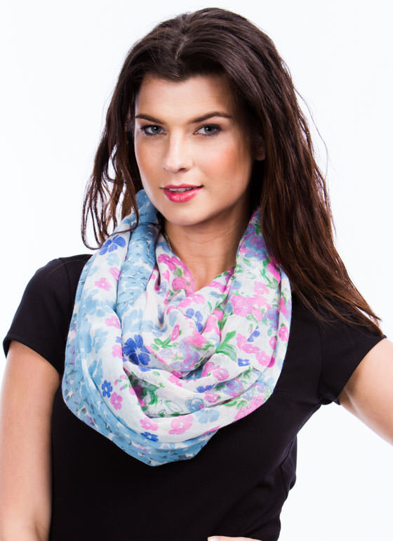 Floral Infinity Scarf BLUEPINK