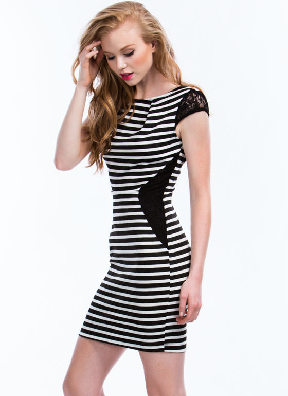 Laced In Stripes Bodycon Dress BLACKWHITE