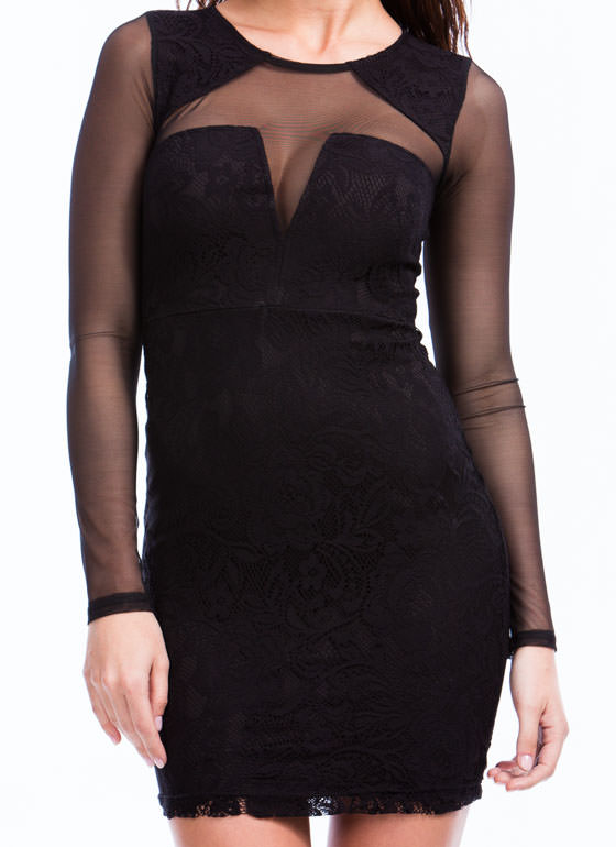 Encased In Lace N Mesh Dress BLACK