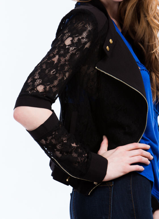 Traced In Lace Moto Jacket BLACK