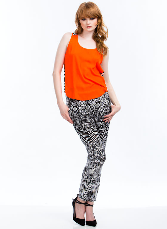 Abstract Zigzag Print Joggers  BLACKWHITE