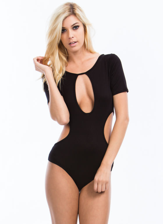 All Curves Cut-Out Bodysuit BLACK