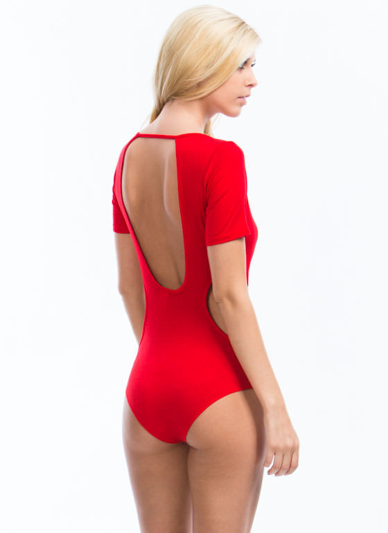 All Curves Cut-Out Bodysuit RED