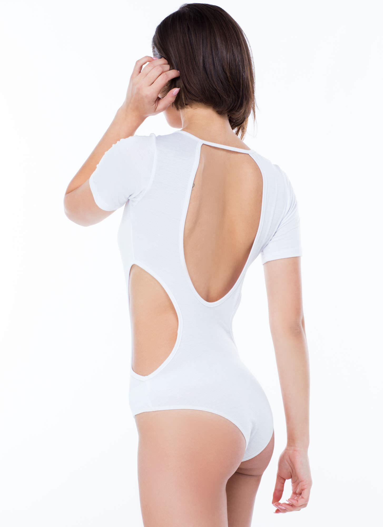 All Curves Cut-Out Bodysuit WHITE