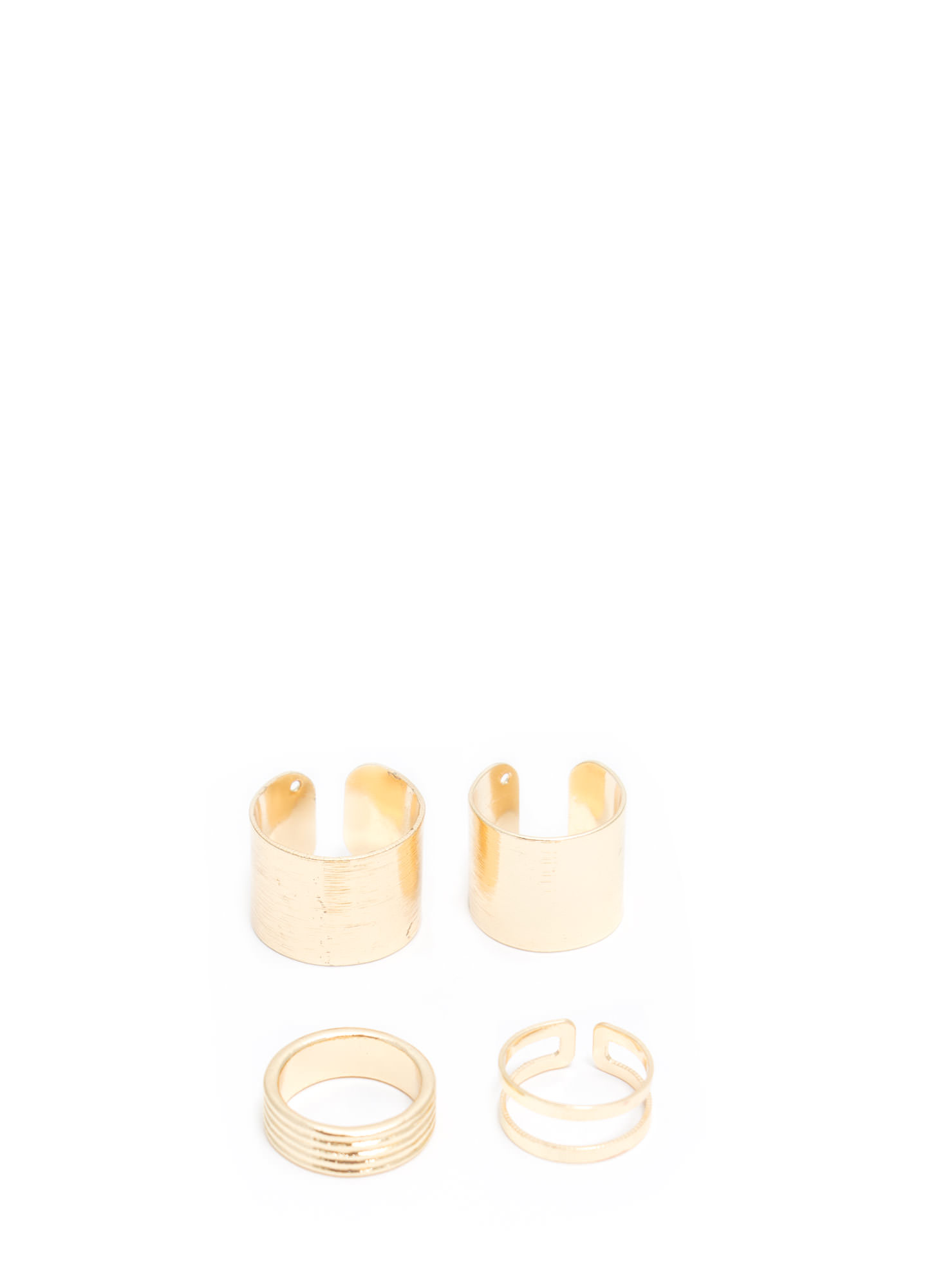Brushed Midi 'N Cut-Out Ring Set GOLD