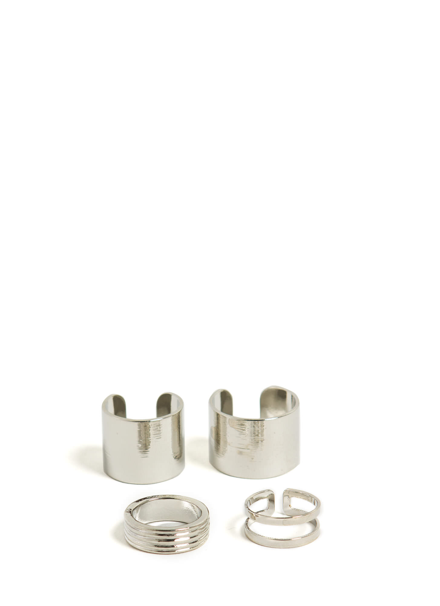 Brushed Midi 'N Cut-Out Ring Set SILVER