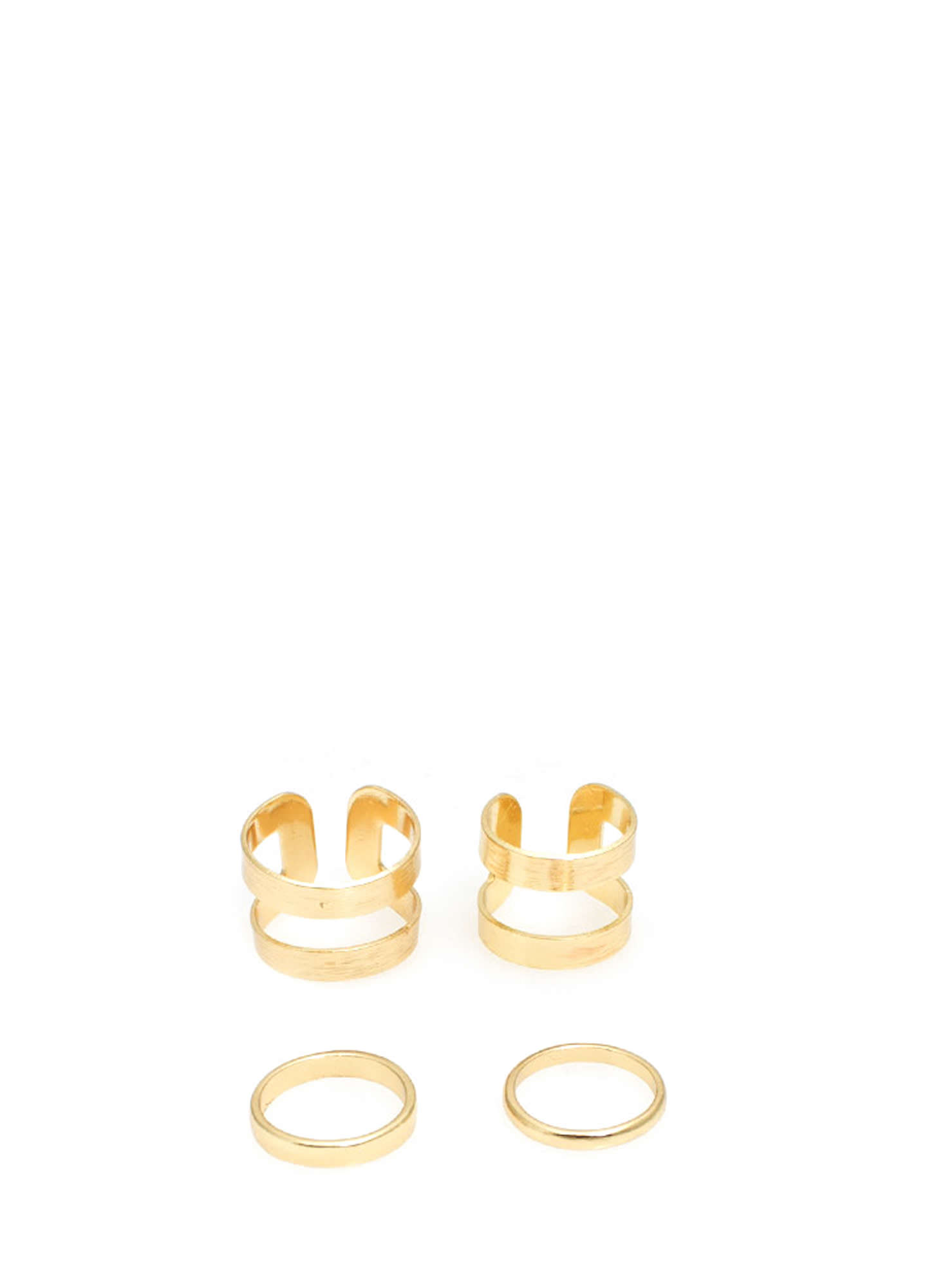 Brushed N Cut-Out Midi Ring Set  GOLD