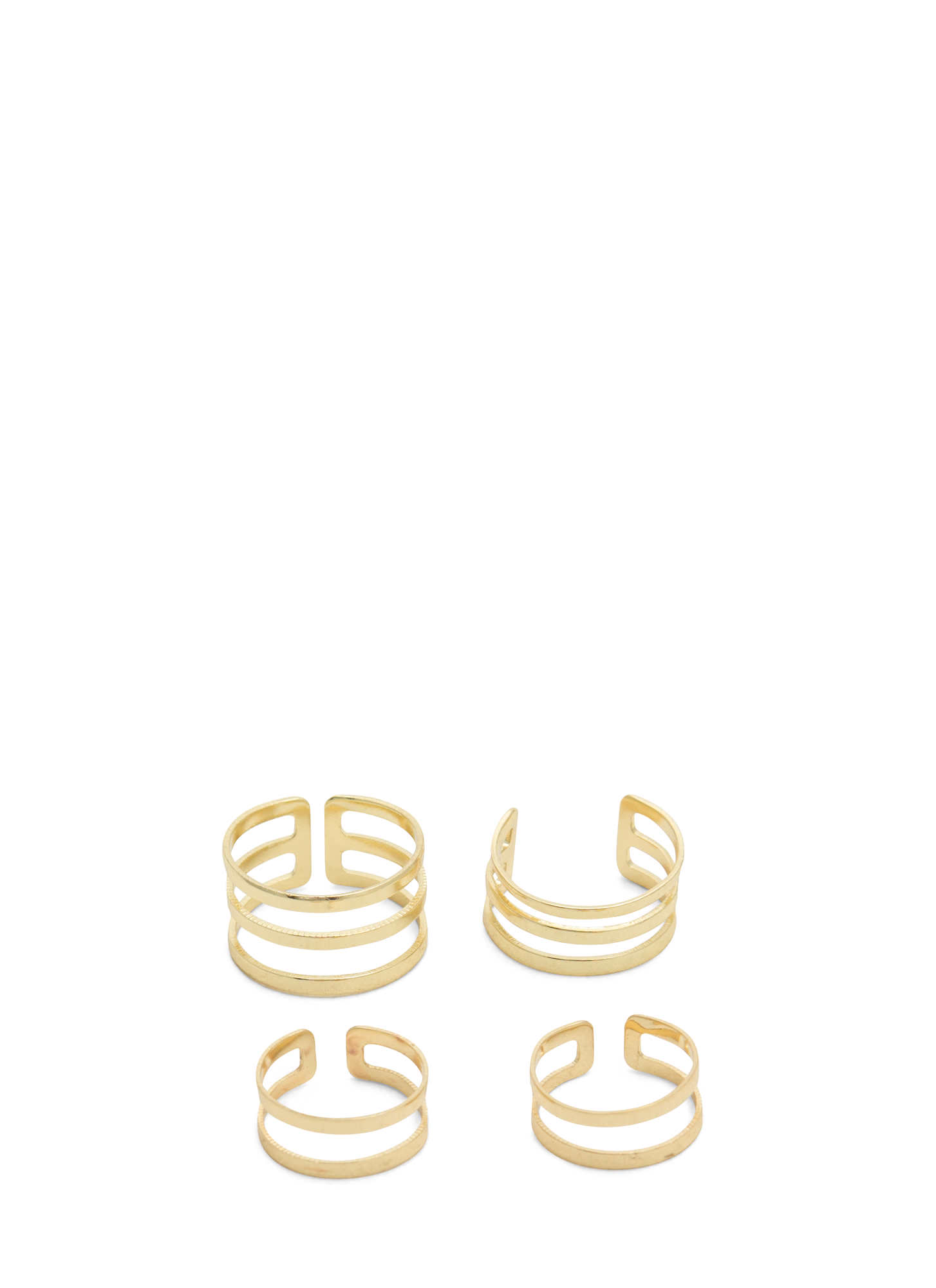 Double N Single Slit Midi Ring Set GOLD