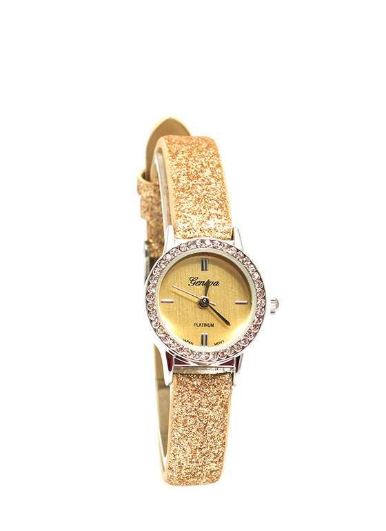 Glittery Skinny Band Mini Face Watch GOLD