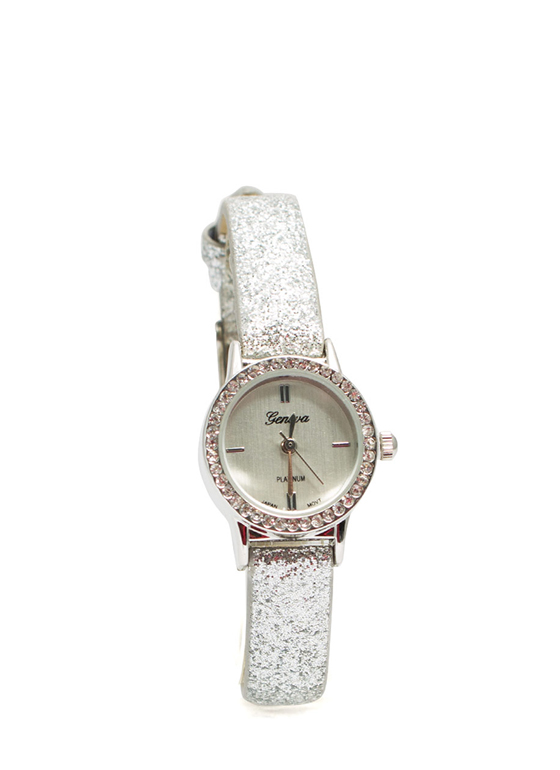 Glittery Skinny Band Mini Face Watch SILVER
