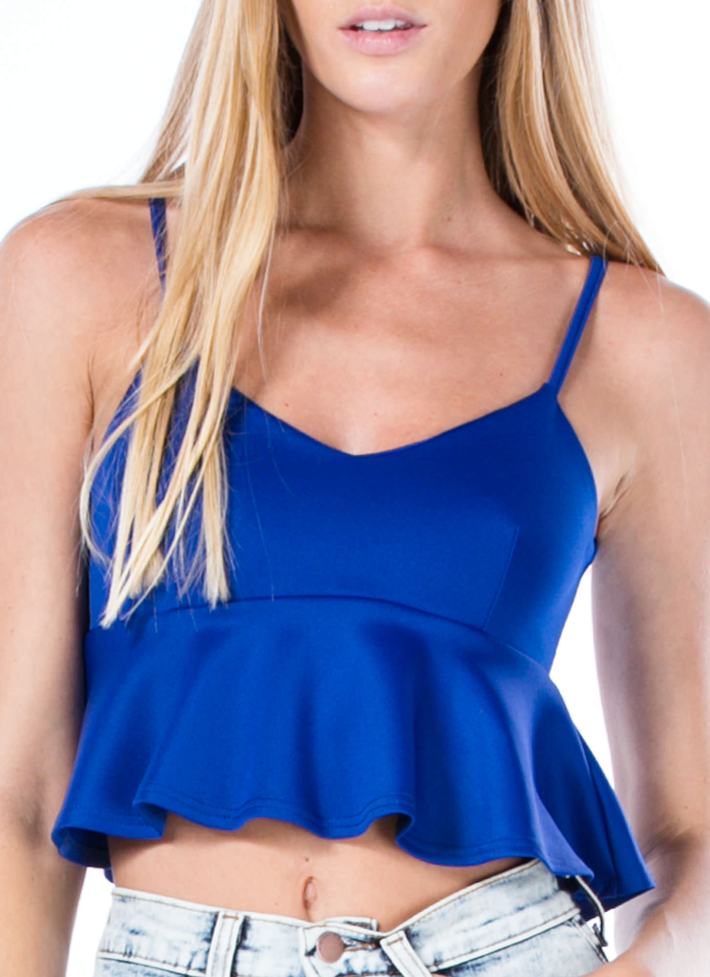 Pep-Lum Talk Strappy Cropped Top ROYAL