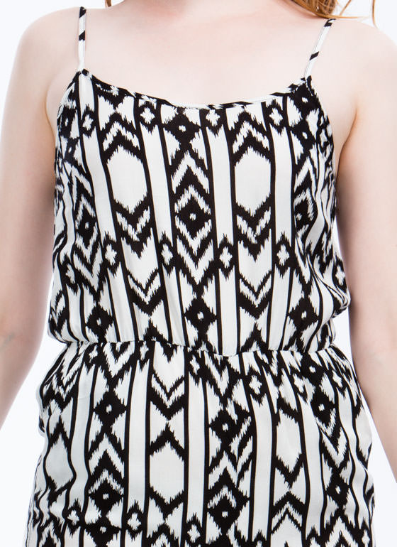 Blurred Lines Tribal Print Romper WHITE
