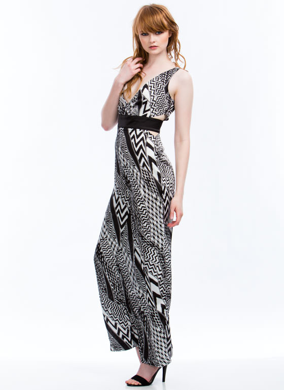 Blurred Lines Mixed Print Jumpsuit BLACK