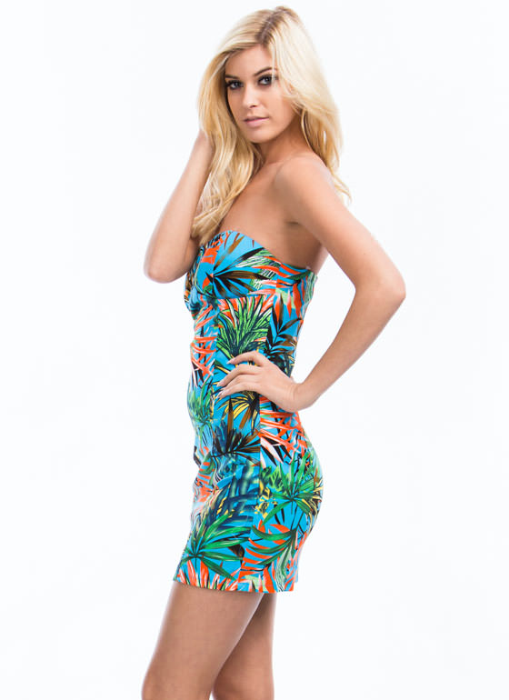 Frond And Center Tropical Tube Dress BLUE