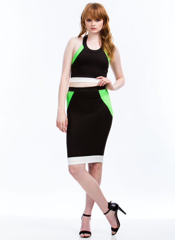 Neon Nights Cropped Halter Tank BLACK
