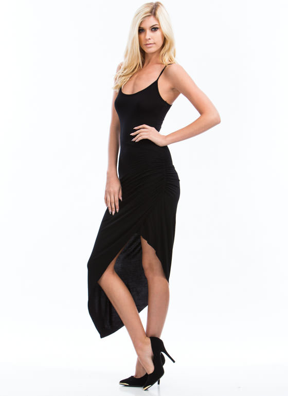 Asymmetrical Ruched Cami Dress BLACK