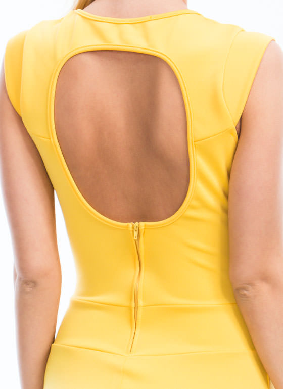 Circle Cut-Out Bodycon Dress YELLOW