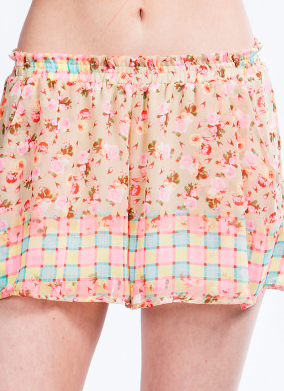 Checker It Out Floral Shorts TAUPEMULTI