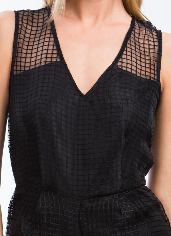 On The Grid Organza Romper BLACK (Final Sale)