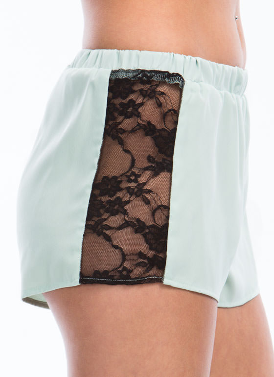 Side Play Lace Inset Shorts MINT