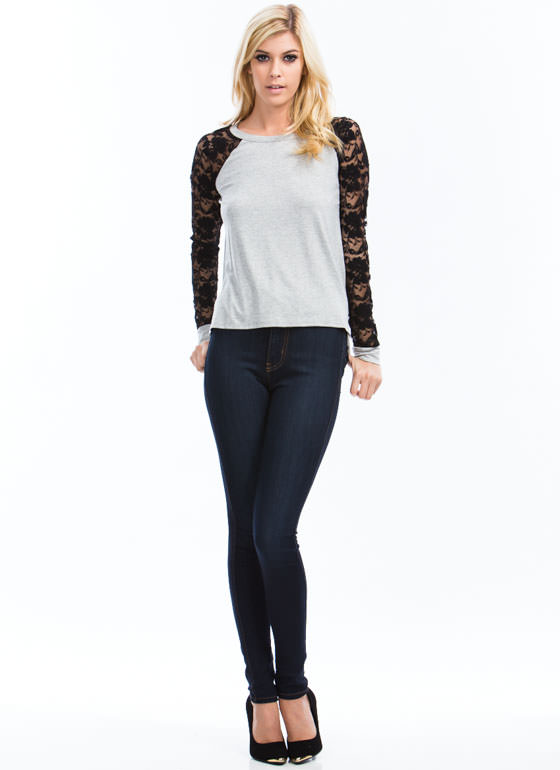 Floral Lace Baseball Tee GREYBLACK