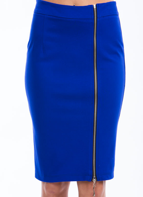 Zip Into Shape Pencil Skirt ROYAL