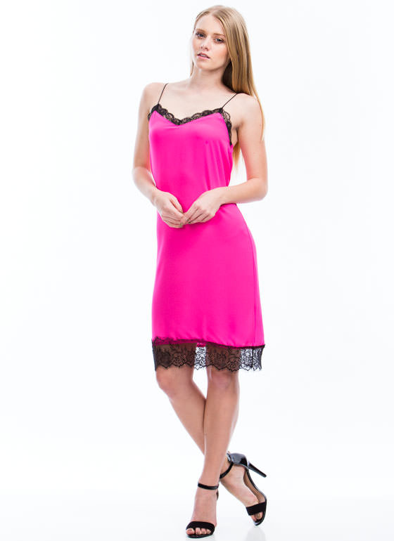 Trimmed In Lace Cami Dress PINK