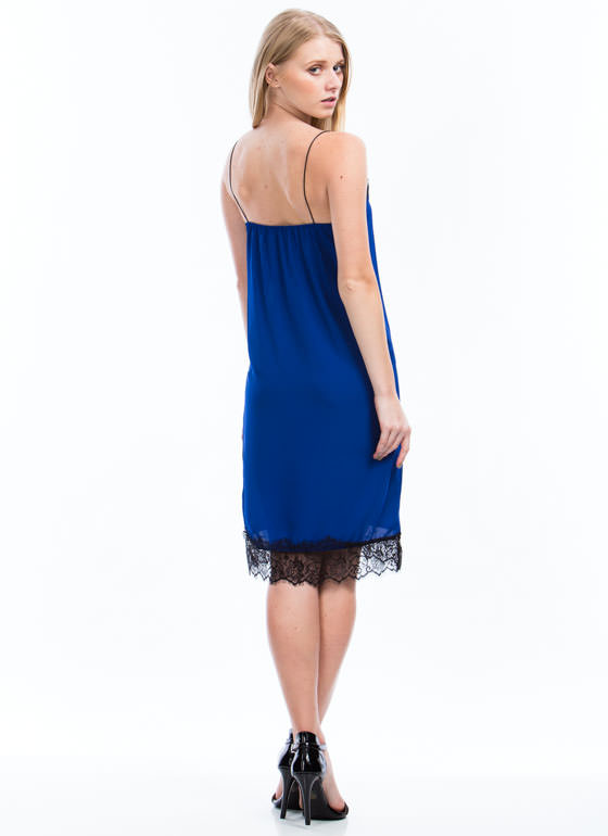 Trimmed In Lace Cami Dress ROYAL