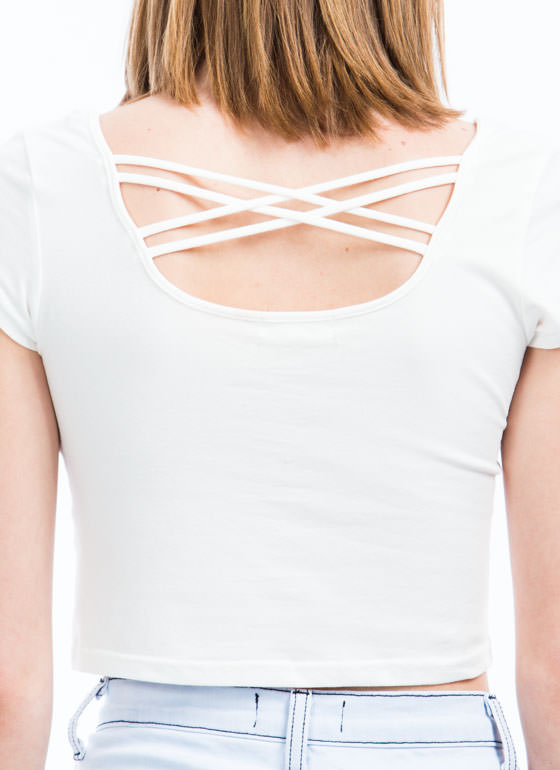 Crisscross It Out Strappy Cropped Top WHITE