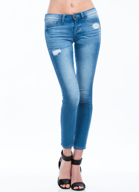 Superior Jeans Distressed Jeggings LTBLUE