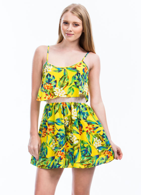 Tiers Of Joy Tropical Floral Dress YELLOW