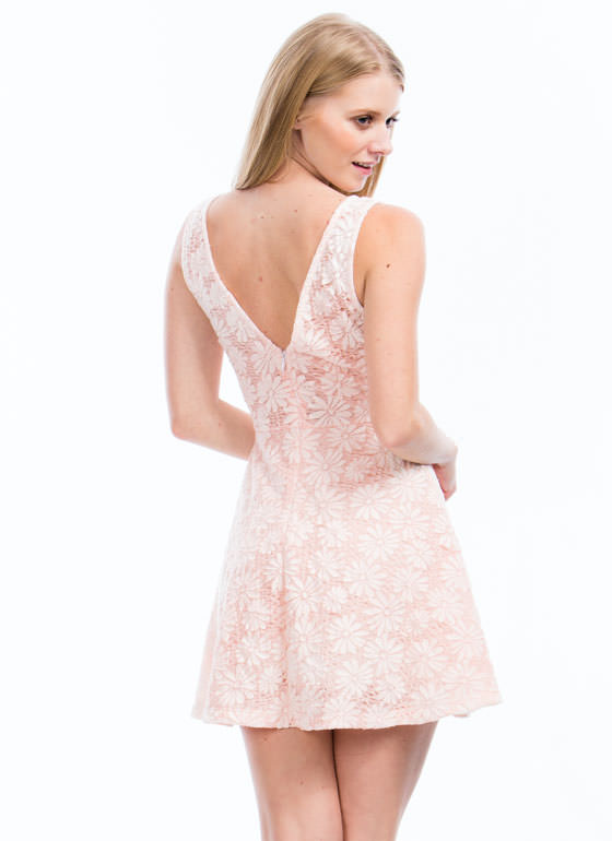 Fresh Threads Lacy Daisy Skater Dress PEACH
