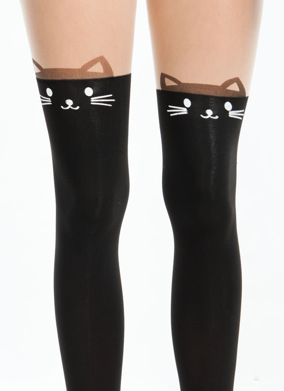 Kitty Ear Cat Face Tattoo Tights NUDEBLACK