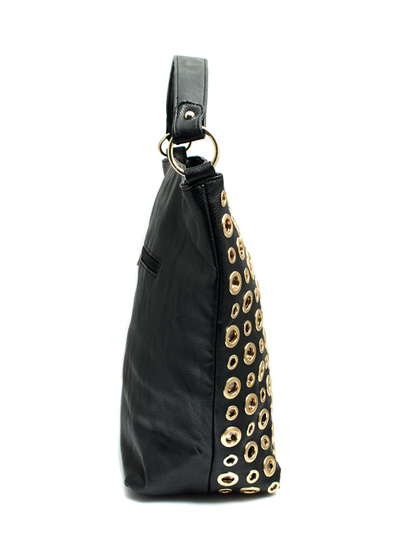 Faux Leather N Grommets Bag BLACKGOLD