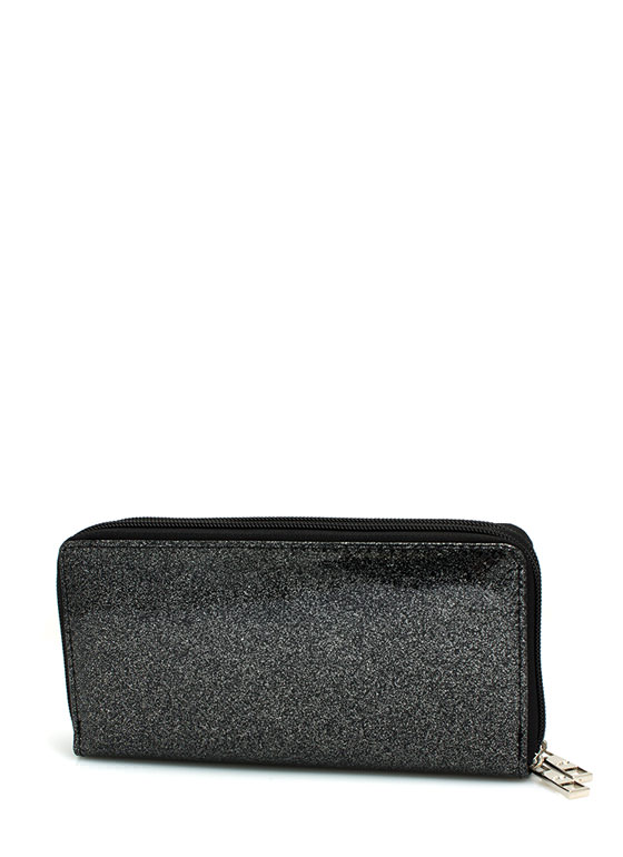 Glittery Jelly Double Zipper Wallet BLACK