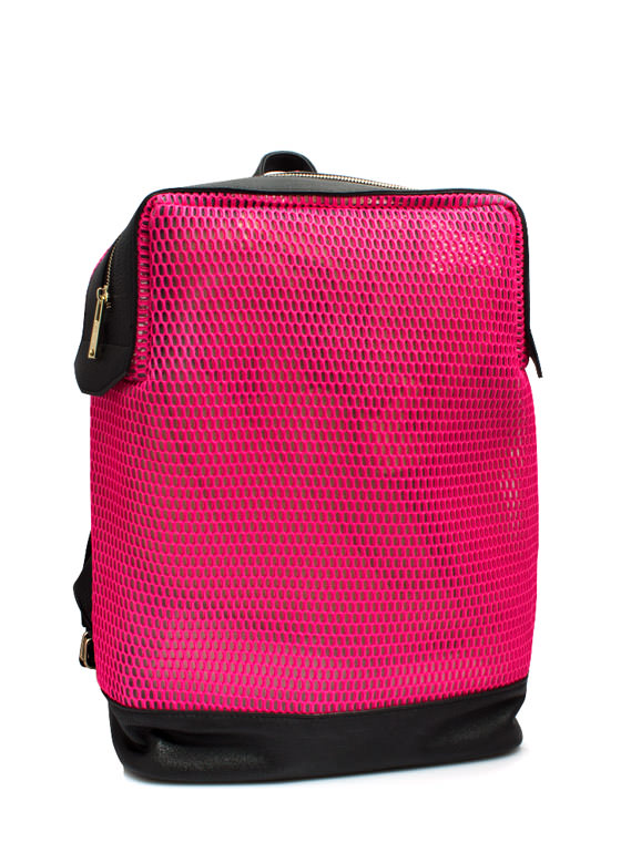 Sports Mesh Faux Leather Backpack NEONPINK