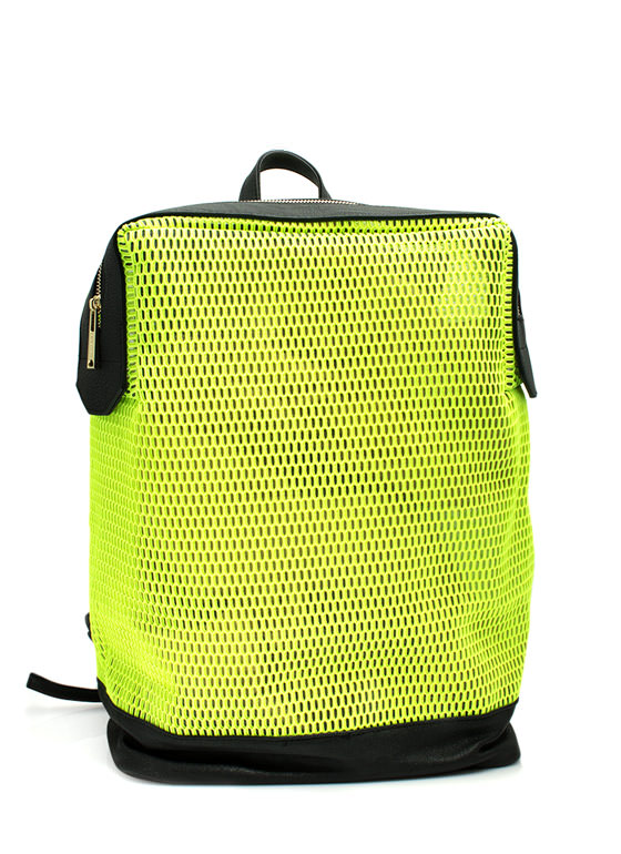 Sports Mesh Faux Leather Backpack NEONYELLOW