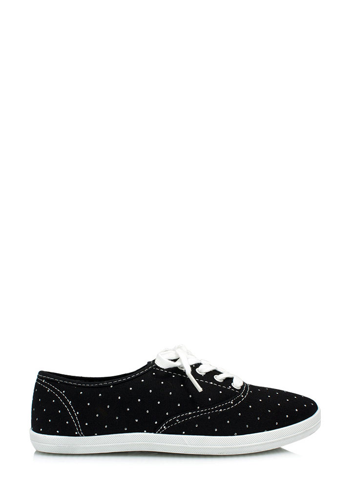 Speckled Dot Canvas Sneakers BLACK