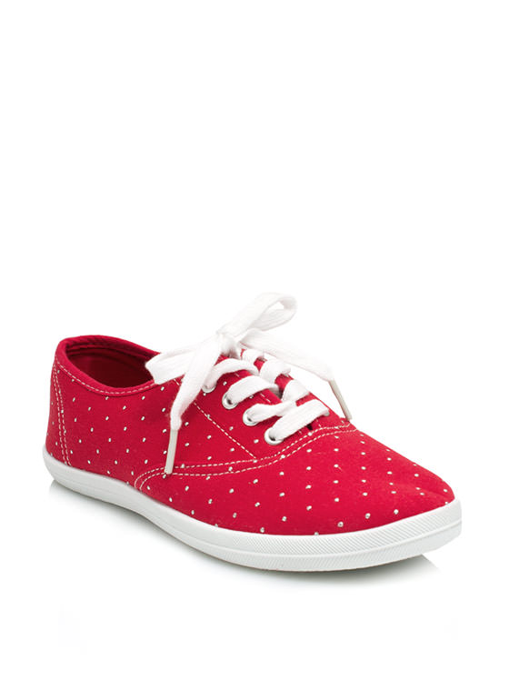 Speckled Dot Canvas Sneakers RED