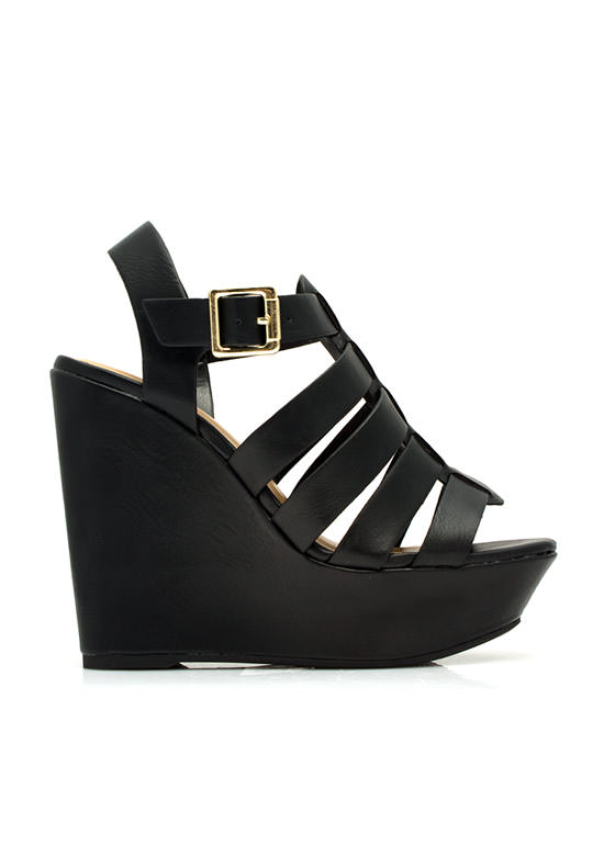 Happy In Strappy Platform Wedges  BLACK