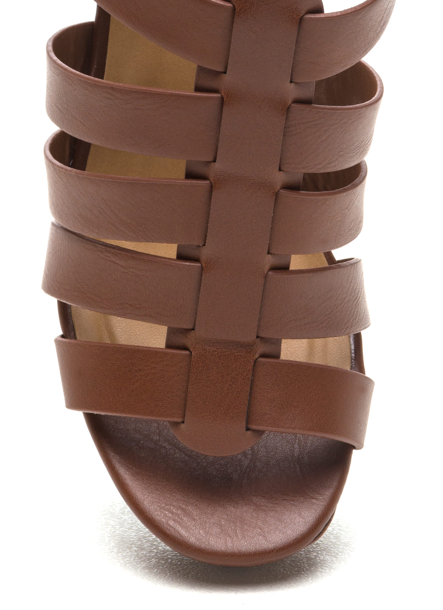 Happy In Strappy Platform Wedges  TAN
