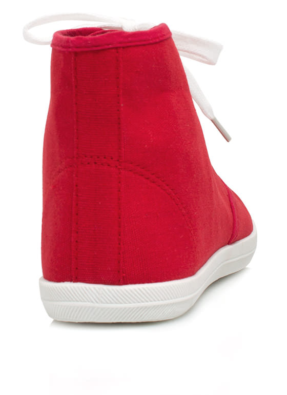 Basic Lace-Up High-Top Sneakers RED