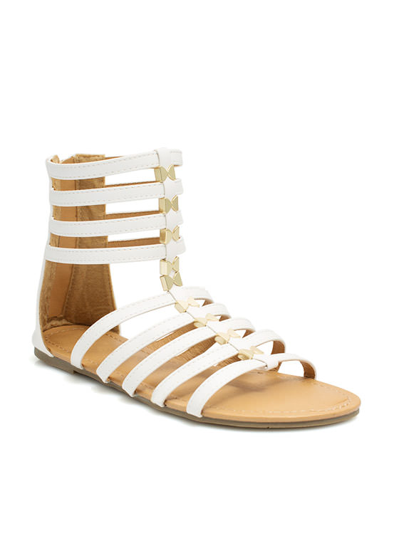 Scaling Ladders Gladiator Sandals WHITE