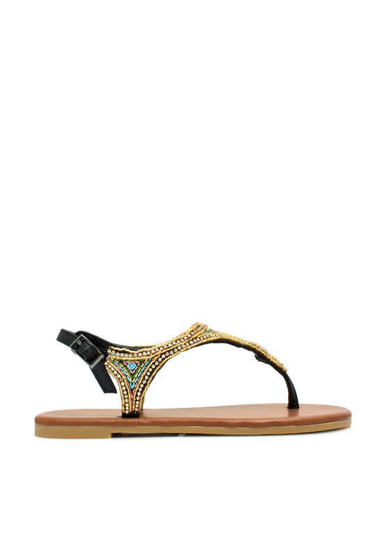 Beaded Nomad T-Strap Sandals BLACK