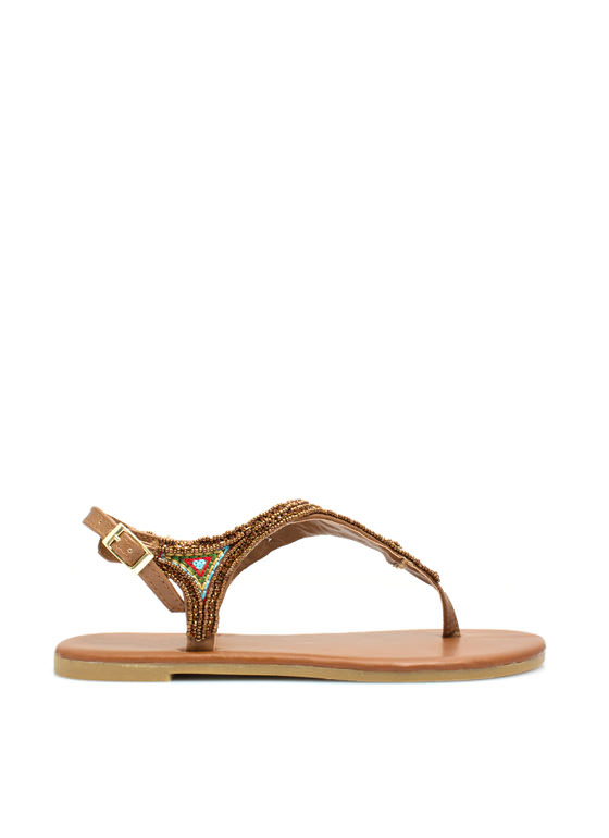 Beaded Nomad T-Strap Sandals CHESTNUT